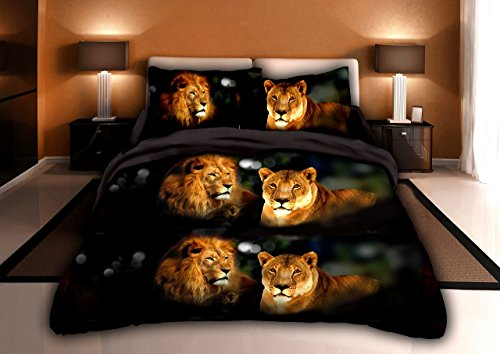 Luxurious 3D Bed Sheet Set Wild Life Animals Print Male and Female Lions in Black in King Size (KING, LIONPRIDE-Y15)