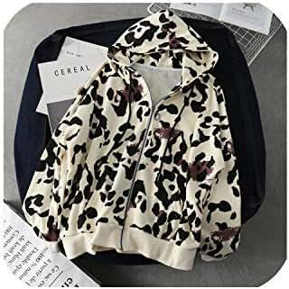 Hoodies Camouflage Sweatshirts Women Hooded Leopard Coat Loose Thin Jacket