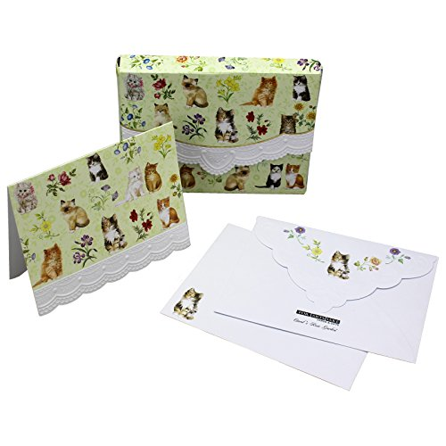 Portfolio Mini Embossed (Kittens Cats Embossed Set of 8 Blank Note Cards, Envelopes, and Mini Portfolio Pouch, Designed by Carol Wilson (One (1) Set))