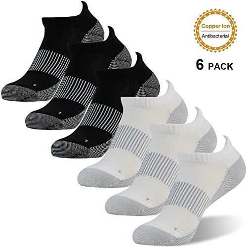 Discount Copper Antibacterial Socks, FOOTPLUS Unisex Athletic Ankle Crew Socks 3/6 Pairs free shipping