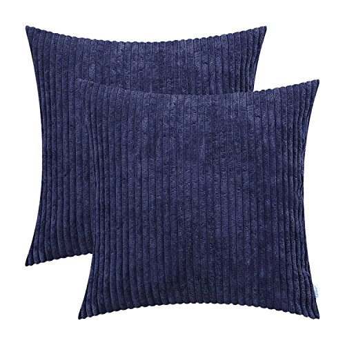 CaliTime Pack of 2 Cozy Throw Pillow Covers Cases for Couch Sofa Bed Comfortable Supersoft Solid Corduroy Striped Both Sides 20 X 20 Inches Navy Blue Blue Stripe Chenille Fabric