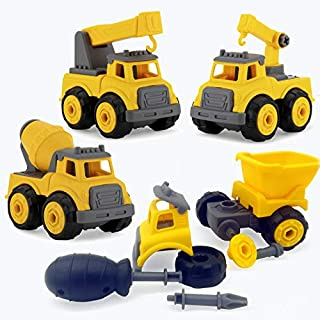 Take Apart Vehicles Sand Toys Constructions Dump Truck. 4 in 1 Vehicles Assembly kit,OVEKI Building Vehicles DIY Set Ideal Toys Gift for Boys Aged 3, 4, 5, 6,7