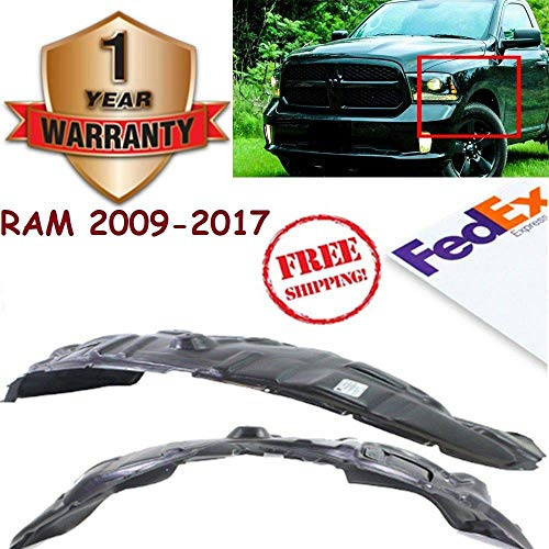 Front Splash Shield Inner Fender Liners for 2009-2017 Dodge Ram 1500 Sport Laramie TRX4 SLT ST Front Left and Right Side Plastic OE Replacement Set of 2 CH1248152 CH1249152