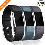 Bands for Fitbit Charge 2, GEAK Replacement Band, Large,Black, Slate Blue and Gray