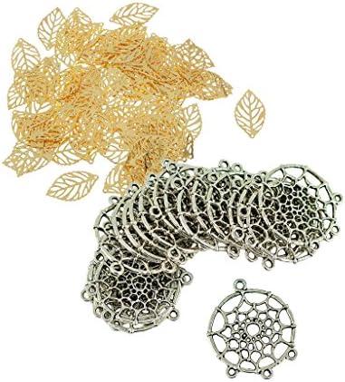 ペンダント リーフ型 ペンダントコネクタ DIY 自己デザイン ネックレス イヤリング 約120個入り