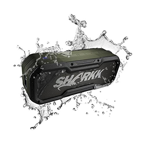 (SHARKK Commando+ Bluetooth Speaker IP65 Wireless Waterproof Speaker with 6600mAh Power Bank and 16 Hours+ Battery Life)