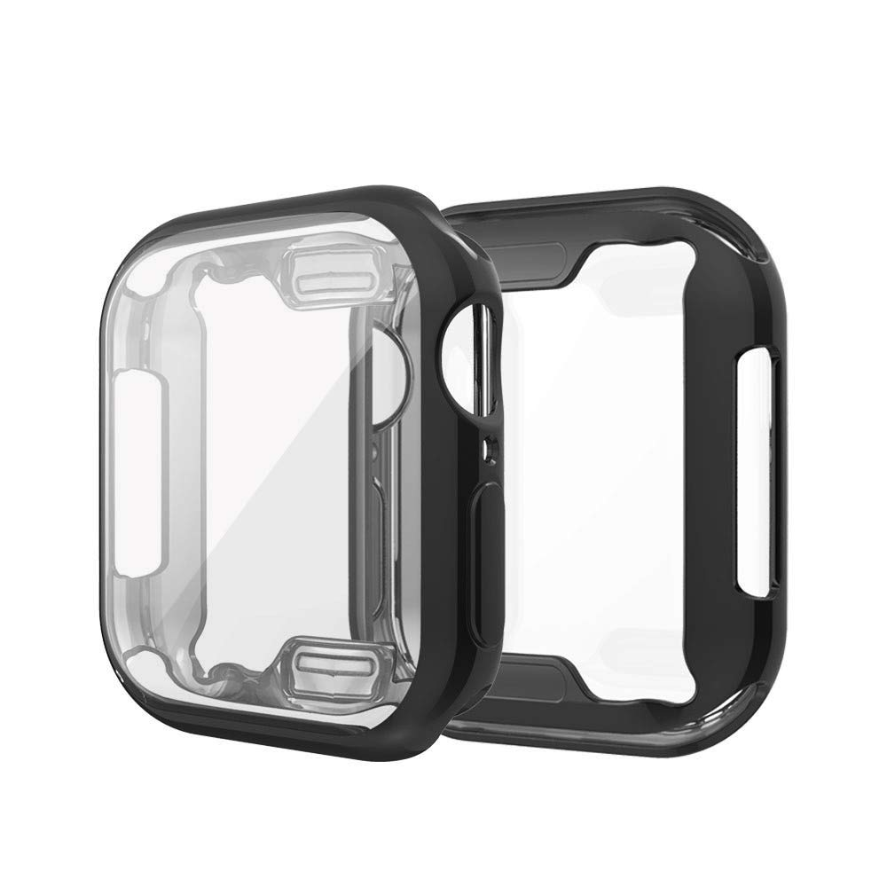 Insaneness for Apple Watch Series 4 44M,Double Color Ultra-Slim Plating TPU Protective Bumper Case Cover (Black)