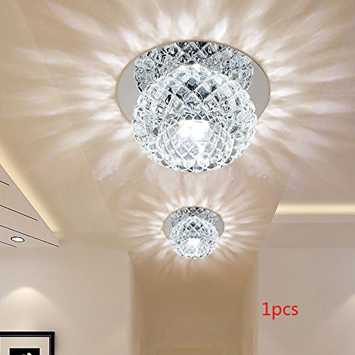 YOTHG 5W/220V Crystal Ceiling Light for Dining Room, Living Room, Bedroom, Hallway, Romantic Modern LED Design(10cm,White Light)
