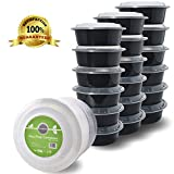 Meal Prep Containers with Lids, 32oz. Round Microwaveable Black Plastic Food Storage Container, Set of 18 - DuraHome™
