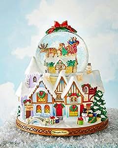 RADKO UP ON THE HOUSE TOP 100mm Musical Snow Globe Christmas Santa
