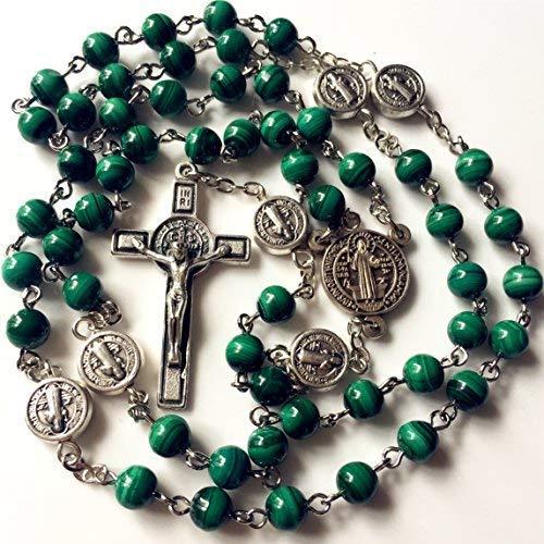 elegantmedical Handmade UNDOUBTED 6MM Green Malachite Jade Beads St. Benedict Rosary Cross/Crucifix Necklace Box Catholic Gift