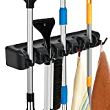 Auwey Mop Broom Holder Wall Mount Hook Gripper Slot, Garden Storage Rack Mop Broom Handle Kitchen Storage Garage Garden Tools Commercial Organizer (5 Position 6 Hooks)