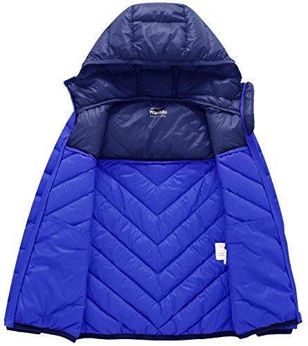Wantdo Boy's Lightweight Packable Puffer Down Jacket Hooded Windproof Color Block Winter Coat(Sapphire Blue, 8) by Wantdo (Image #3)