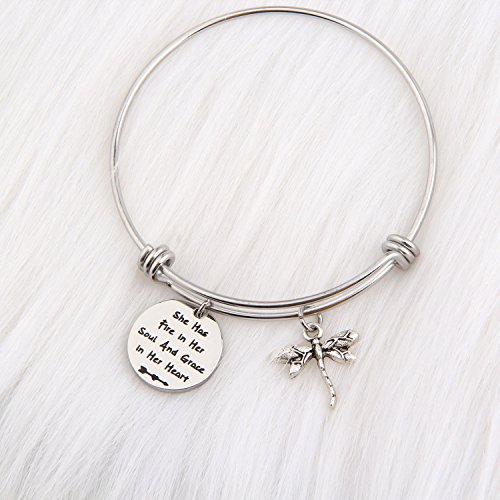 PLITI Inspirational Jewelry Graduation Gift She Has Fire in Her Soul and Grace in Her Heart Bracelet with Dragonfly Charm Motivational Faith Gift for Her (She has fire in Soul) by PLITI (Image #3)