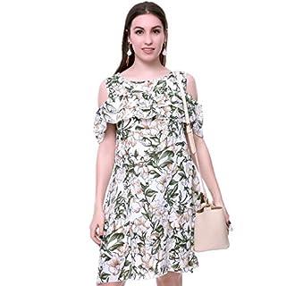 MORCOE Women's Summer Plus Size Cold Shoulder Ruffles Loose Wrap Short Sleeves Beach Wedding Party Midi Casual Dress (White, XL)