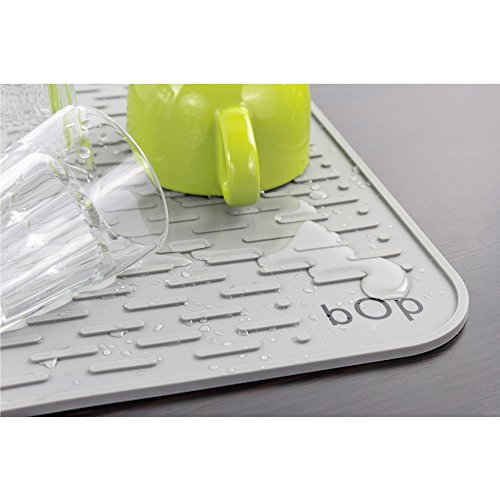 XXL 22''x18'' Gray Silicone Dish Drying Mat | Bar Mat | Anti-Bacterial, Dish Washer Safe | Heat Resistant Trivet (XXL Charcoal) by BOP Home Products (Image #3)
