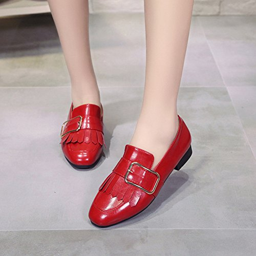 Women's Oxford on Casual Shoes Tassels Formal Red Slip Flat Heel PP Chunky Fashion 4FfwxCqU