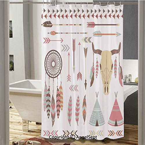 (SfeatruCurtai Tribal Indian Elements Dreamcatcher Mountain Goat Feather Arrow Ethnic Indie Art Waterproof Polyester Bath Curtain(72