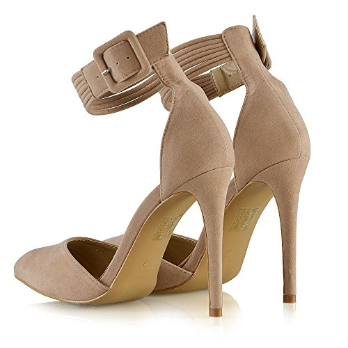 ESSEX GLAM Womens Stiletto High Heels Pointed Toe Belted Ankle Strap Court Pumps Shoes Nude Faux Suede 0ztDeN3aP