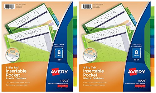 Insertable Pockets Avery (Avery Big Tab Insertable Plastic Dividers with Pockets, 8 Multicolor Tabs, Pack of 2 Sets (11903))
