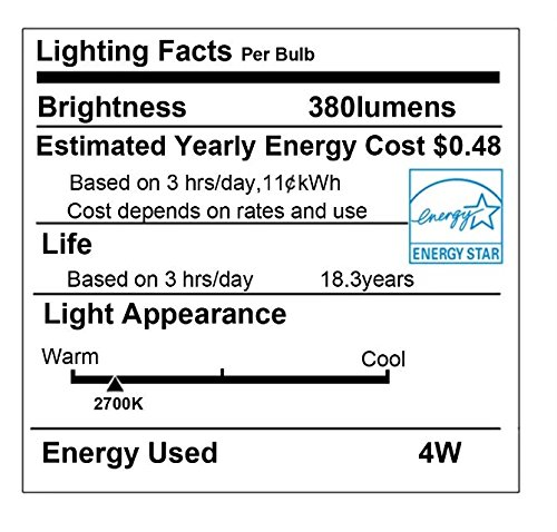 LED Edison Bulb Dimmable Amber Warm 2700K Antique Vintage Style Filament Light Bulbs 40W Equivalent E26 Base 6-Pack by LUXON by LUXON (Image #2)
