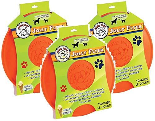 Jolly Pets 3 Pack of Jolly Flyer Rubber Floating Disc, Orange, 9.5-Inch