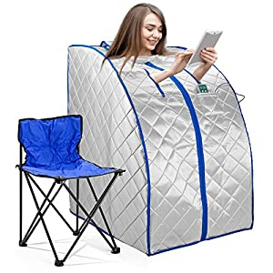 idealsauna Infrared FAR IR Negative Ion Portable Indoor Personal Spa Sauna by Durherm with Air Ionizer, Heating Foot Pad and Chair, 30 Minutes Timer, Large, Silver