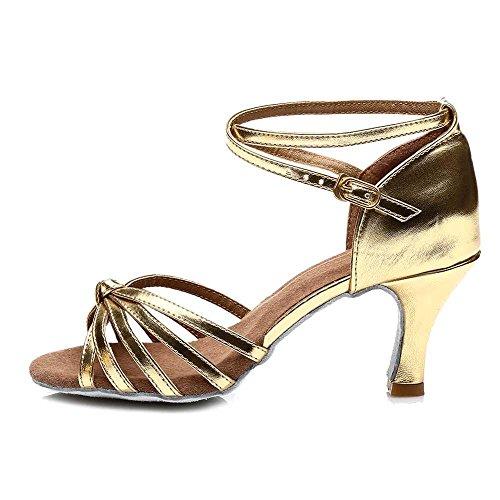 YFF Frauen Latin Dance Schuhe/Ballroom Tango 5 cm / 7 cm 11 Corlors, 7 cm Heels schwarz rot, 7.