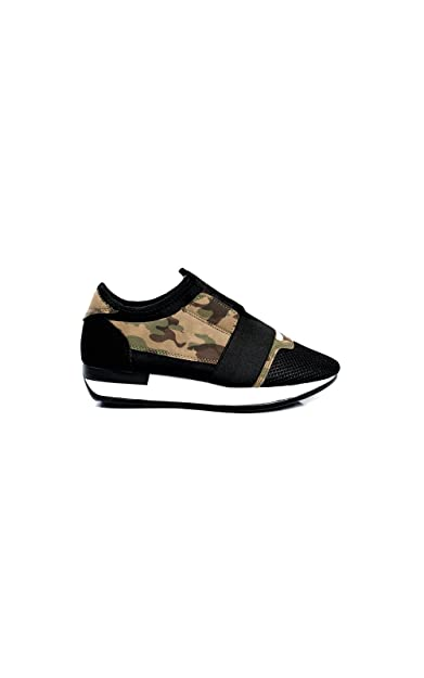 Womens Camouflage Black Mesh Two Tone Panel Trainers Casual Shoes New Sneekers