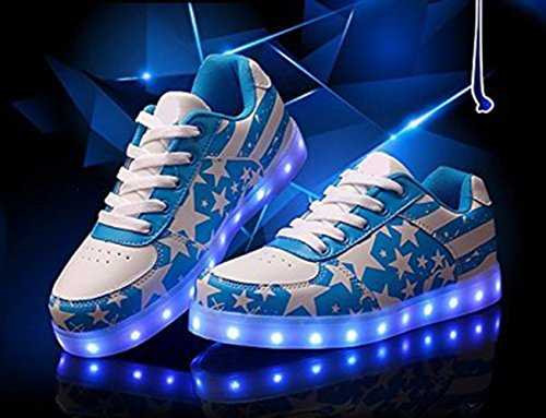 [Present:small towel]JUNGLEST® High Quality LED lights couples casual shoese USB Charging LED Lighted Luminous Sneakers for Unisex Men Women 7 color Blue rFCJc