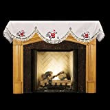 Linens, Art and Things Embroidered Christmas Holiday Santa Clause and Christmas Trees 16'' x 90'' Fireplace Mantel Scarf Piano Scarf Large Window Valance