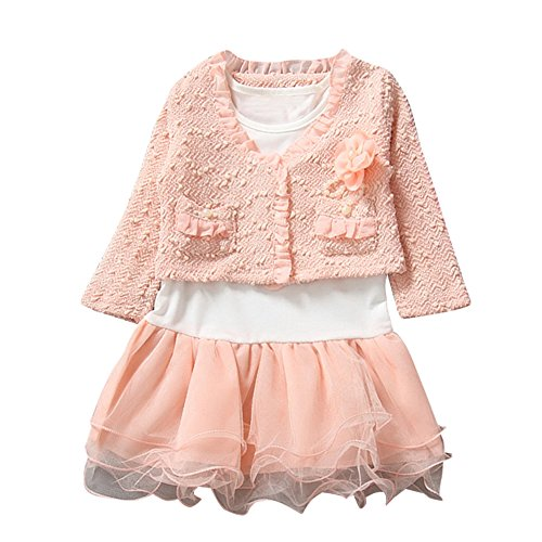 [Diamondo 2pcs Kids Children Girls Long Sleeve Lace Coat Bubble Skirt Dress Outfit (Size: 90 Height: 85-95cm Age(Year):] (30 Second Costumes)