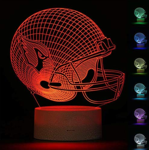 Football Helmet Light Touch Control Football Team Light Lamp 7 Color Changing Touch Light Lit Base Night Light for Boys Men Women for Football Sports Lovers (Arizona Cardinals) Arizona Cardinals Night Light