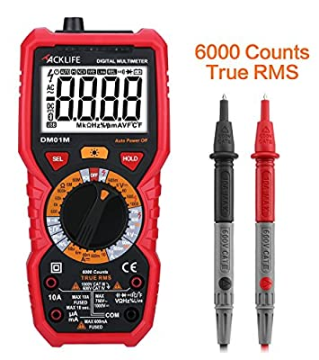 Tacklife DM01M Advanced Version Digital Multimeter TRMS 6000 Counts Multi Tester Non Contact Voltage Detection Amp Ohm Volt Multi Meter Temperature,Live Line,Continuity Test with LCD Backlight
