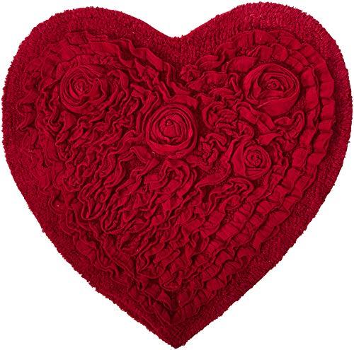 (Home Weavers BBEHR2525RE Bellflower Heart Bath Rug, 25