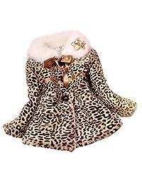 Changeshopping Girls Princess Faux Fur Leopard Coat Girls Warm Jacket Snowsuit