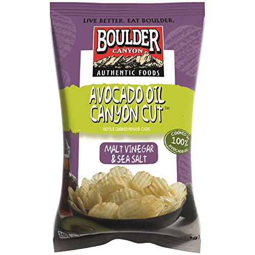 Boulder Canyon Kettle Cooked Potato Chips, Avocado Oil Canyon Cut Malt, Vinegar & Sea Salt, 5.25 Ounce, (Pack
