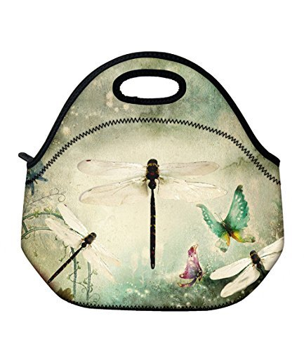 ICOLOR Neoprene Lunch Bag Carrier, Thermal Lunch Tote Bag, Lunch Box & Food Container, Insulated Soft Lunchbox, Travel Picnic Office Work Food Storage Cooler - Dragonfly Enclosure