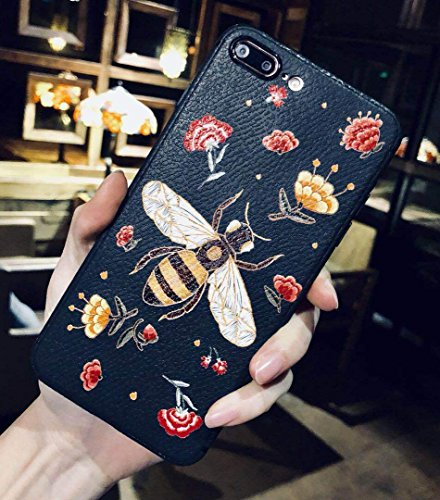 Embroidered Phone Case (Losin Compatible Embroider Case for Apple iPhone 7 Plus/iPhone 8 Plus 5.5 Inch Ultra Thin Fashion Embroidered Butterfly Bee Dragonfly and Flower Soft TPU Back Case)