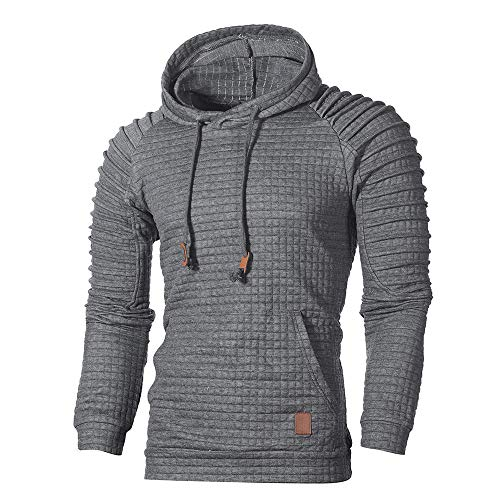 WUAI Clearance Men's Outdoors Jacket Running Sports Plaid Pullover Regular Fit Hooded Sweatshirt Casual Outwear(Dark Gray,US Size 3XL = Tag 4XL)