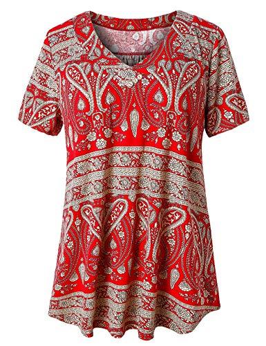 (FOLUNSI Women's Plus Size Swing Tunic Top Short Sleeve Floral Flare T-Shirt Multi Red 2XL)