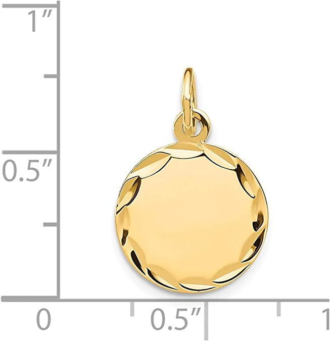 Jewel Tie 14K White Gold Etched .009 Gauge Engraveable Round Disc Charm