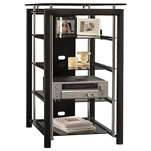 Black and Chrome Audio Tower Textured Black (Audio Rack Bush Furniture)