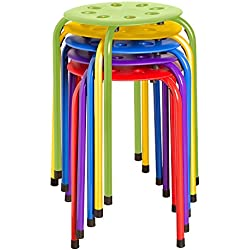 """Norwood Commercial Furniture NOR-1101AC-SO Plastic Stack Stools, 17.75"""" Height, 11.75"""" Width, 11.75"""" Length, Assorted Colors (Pack of 5)"""