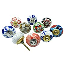 Lot Of 10 Pcs Ceramic Drawer Knob Multicolor Decorative Knobs Cupboard Pulls