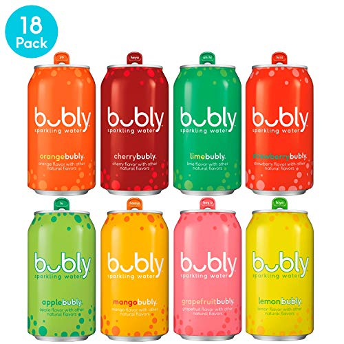 bubly Sparkling Water, 8 Flavor Variety Pack, 12 fl oz. cans, (18 Pack) (Fruit Blackberry Passion Tea)