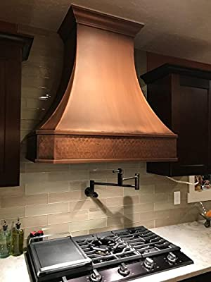 Copper Range Hood H3SL Ready to Ship 5-6 Business Days Delivery, Comes with Stainless Steel Insert Liner & 610CFM Internal Motor, LED Lights, Baffle Filter, Wall Mount