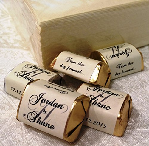 Monogram Chocolates - 120 Personalized IVORY MONOGRAM WEDDING CANDY WRAPPERS/Stickers/Labels (Make your own event or party favors using your HERSHEY NUGGET CHOCOLATES)