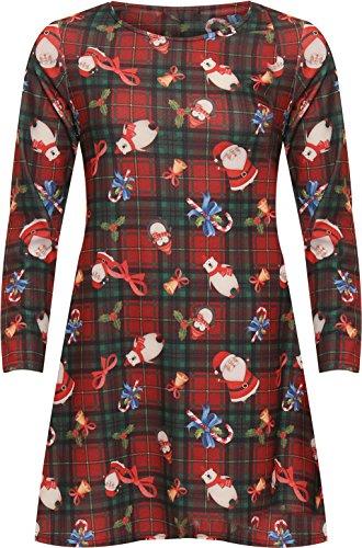 Flared Christmas Size Print Swing Long WearAll Xmas Womens Festive Red Sleeve Dress Plus qUwn8ZAz