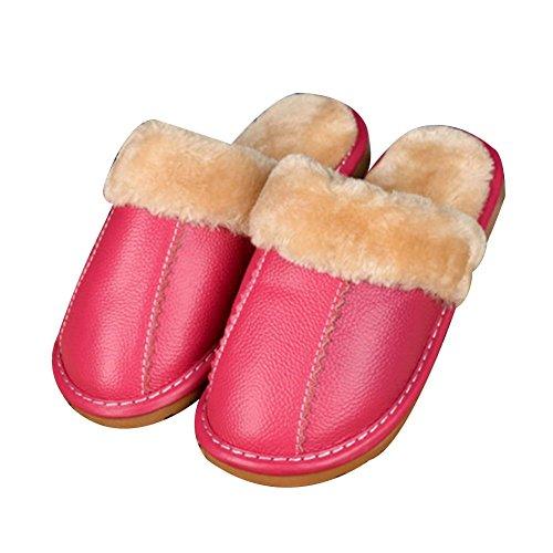 TELLW Leder jungen und M?dchen Kinder Kinder Baumwoll Pantoffeln M?nner und Frauen nach Hause rutschfeste warm Indoor Holzfu?b?den Home Pantoffeln Winter M?dchen Pink